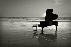 piano on the sea