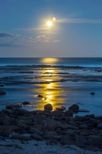 Moon landscape by the sea